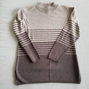 Jaclyn Smith striped mock neck brown sweater vntg